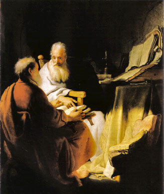 The art of Rembrandt, two scholars disputing