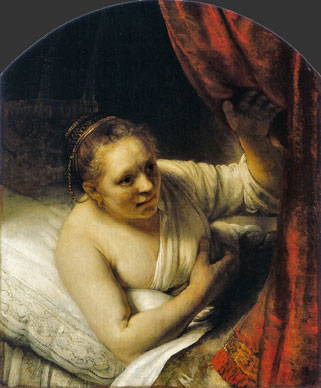 The art of Rembrandt: Young woman in bed - oil painting